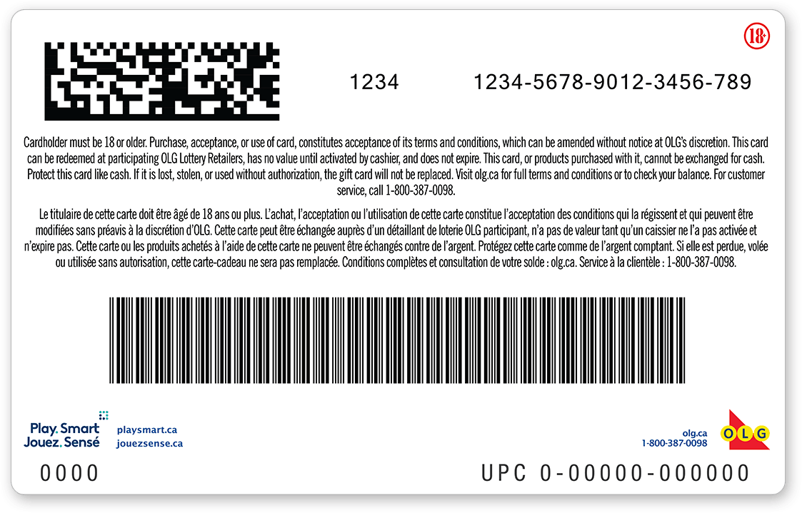 Back of gift card